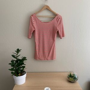 Red & white striped scoop neck Banana Republic top
